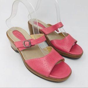 Dansko Pink Double Strap Slide Clogs Wedges 39